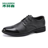 木林森男鞋20019春季新款真皮商务休闲鞋系带正装鞋SS97008