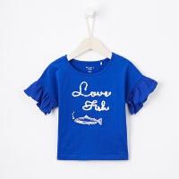 【1件2.5折到手价:24.8】米喜迪mecity童装19夏装新款女童袖口拼雪纺短袖儿童t恤