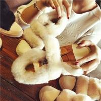 欧洲站冬季新款真皮羊毛雪地靴女魔术贴平底短靴棉鞋复古学生女鞋