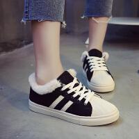 冬季鞋子女2018新款加绒板鞋韩版百搭棉鞋学生ins女鞋港风鞋超火 黑色 加绒