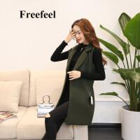 Freefeel2017秋冬新款马甲女装上衣毛呢马甲时尚韩版修身外套1610