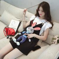2018新款吊带连体短裤女夏季韩版学生背带裤大码显瘦连身阔腿裤裙两件套装