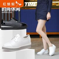 红蜻蜓女单鞋春秋新款正品时尚休闲舒适坡跟真皮单鞋女鞋