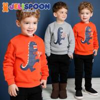 韩国童装Jelispoon2017冬季新款男童女童T恤加绒版恐龙卫衣