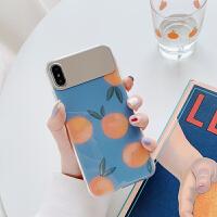 文艺橘子镜面iphonex手机壳7plus苹果x/xs max/xr潮女iphone6s/8p i6/6s 补妆镜几个