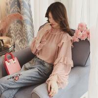 女装春季新款甜美波点荷叶边喇叭袖雪纺衫女圆领套头打底衫 均码