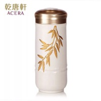 乾唐轩活瓷杯鎏金富贵金竹随身杯双层隔热保温创意陶瓷杯水杯杯子