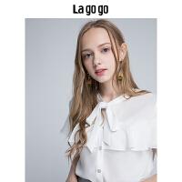 【清仓3折价89.7】Lagogo2019年夏季新款白色小清新衬衫女短袖荷叶边系带宽松上衣HACC234A14
