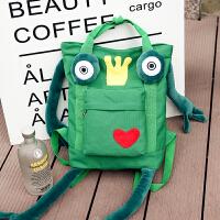 新款时尚个性皇冠青蛙王子双肩包女韩版潮帆布搞怪背包女包包