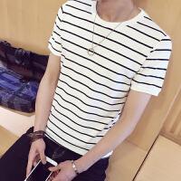 施衣品夏季短袖T恤男新款男装条纹短袖T恤 韩版潮流拼接棉质衬衫