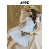 Lagogo/拉谷谷2019年夏季新款时尚学院风连衣裙两件套HALL825A27
