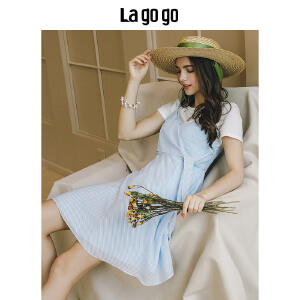 【清仓3折价137.7】Lagogo/拉谷谷2019年夏季新款时尚学院风连衣裙两件套HALL825A27