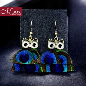 新年礼物Mbox耳环 气质女款韩国版采用猫头鹰元素时尚羽毛耳钉耳环 守夜者