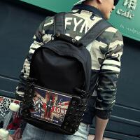 双肩包男包包 男士背包韩版潮高中学生书大包休闲英伦风旅行