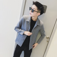 秋冬季毛呢外套男短款英��呢子大衣�n版修身�r尚青年妮子�L衣潮流