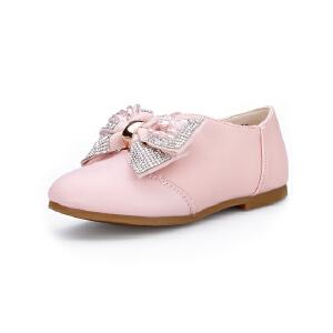 比比我童鞋女童平底小皮鞋防滑公主鞋贴钻蝴蝶结单鞋中大童学生演出鞋
