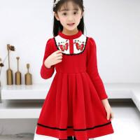 儿童加厚加绒连衣裙子女童红色公主裙冬裙小女孩学生裙冬 红色蝴蝶贴片加绒裙