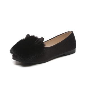 WARORWAR新品YM32-186-1冬季韩版平底舒适女士毛毛单鞋