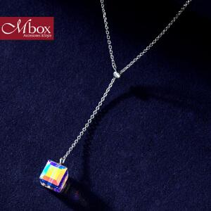 新年礼物Mbox项链 女款韩国版采用S925银施华洛世奇元素水晶项链 幸福彩光