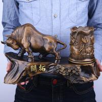 办公室牛摆件创意复古笔筒装饰工艺品办公桌桌面摆件