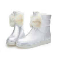 韩版2018冬季女童靴子蝴蝶结保暖雪地靴小女孩短靴皮靴加厚童鞋女真皮