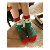 秋冬款韩国圣诞可爱地板袜子女珊瑚绒毛巾袜中筒袜保暖睡眠袜 均码