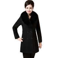 新款中老年大码厚羊毛呢子秋冬装外套妈妈装羊绒大衣中年女装长款