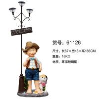 户外园林装饰品花园别墅小区门口太阳能路灯摆件学校卡通人物雕塑