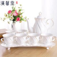 汉馨堂 杯具套装 简约欧式冷水壶水具套装时尚高档陶瓷茶具滤水壶家用杯具一壶六杯子带托盘凉水壶
