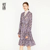 初语连衣裙夏季新款女长款裙子浪漫碎花收腰V领气质雪纺裙
