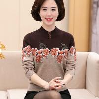 中老年女装100%纯羊毛衫新款毛衣套头加厚妈妈装秋冬中年人上衣