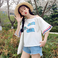 2018夏季新款女装韩版学生宽松压褶袖长袖印花雪纺衫短袖恤上衣