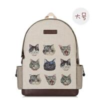 韩版帆布手绘猫咪双肩包女森系复古校园背包韩国初中学生个性书包