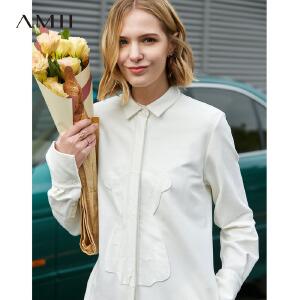 【到手价:187.9元】Amii极简欧洲站chic衬衫领连衣裙2019春新贴布绣小熊棉质连衣裙