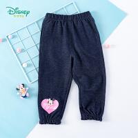 迪士尼Disney童装女童长裤花边脚口裤子2020年春季新品针织仿牛仔布休闲裤