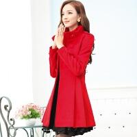 毛呢外套女秋冬韩版双排扣中长款修身显瘦蕾丝裙摆红色呢大衣