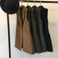 秋冬季新款20韩版收腰翻领毛呢马甲外套女装中长款纯色西装上衣