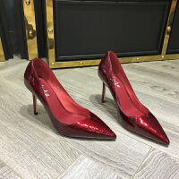 欧洲风格站2017早秋新款女鞋刀割牛皮V扣浅口尖头细跟高跟单鞋潮