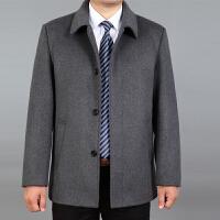 秋冬中老年男士羊绒夹克短款翻领爸爸装羊毛呢子大衣加厚外套风衣
