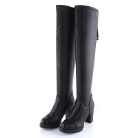 秋冬保暖女长筒靴后拉链防水台高跟皮面靴子显瘦粗跟弹力过膝长靴真皮 黑色 (加绒后拉链)
