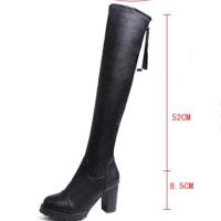 过膝长靴子女高筒靴女鞋2018新款韩版高跟皮靴粗跟马丁长筒女靴子软底 黑色