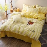 韩式宿舍绣花床上用品公主单双人床床单被套磨毛条纹三件套四件套