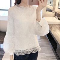 秋冬新款韩版泡泡袖宽松显瘦蕾丝上衣T恤女半高领加绒加厚打底衫