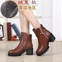 冬季新款女靴羊毛女棉鞋短靴女棉靴真皮棉鞋保暖棉皮鞋大码妈妈鞋SN3212