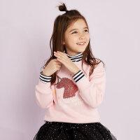 【2件2.5到手价:59】美特斯邦威旗下moomoo童装女童卫衣新款冬装加绒洋气中大儿童上衣-CC