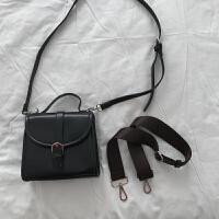 女包新款韩国气质小复古百搭包金属扣翻盖斜挂单肩手提包女潮 宽背带黑色