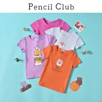 【2件3折:23.7】铅笔俱乐部童装2020夏装新款女童短袖中大童可爱卡通T恤儿童上衣