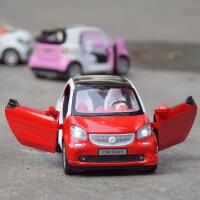 天鹰 仿真独立装奔驰SMART合金车模型 儿童声光回力玩具车