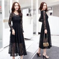 蕾丝连衣裙长袖2018秋季新款女装韩版收腰显瘦喇叭袖时尚气质裙子