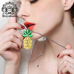 皇家莎莎个性时尚菠萝吊坠长款项链女新款韩版秋冬衣服配饰毛衣链